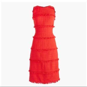 J. Crew Tall Fringy Tweed Sheath Dress in red